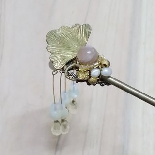 Let Kee Tong Ling Wan Tianhua ornaments ~} {Xinglin Shizukuishi orange moon mosaic brass brass beads bone pearl hairpin hairpin hairpin hair plug
