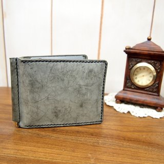 Hand-stitched leather paper currency wallet Silver Grey (Cloudy Grey) Wax