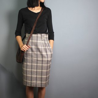 FOAK vintage cement interlaced check wool skirt