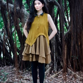 Envol Avec Ning mustard-colored sleeveless dress lotus leaf swing