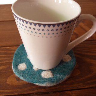 【Grooving the beats】Cup coasters, Felt coasters(Dot_Blue)