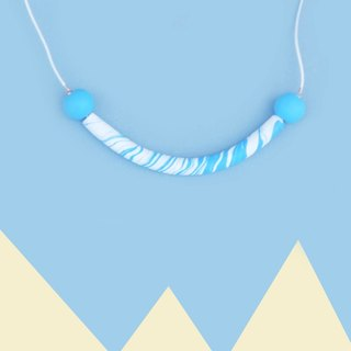 Blue arc curved clay necklace