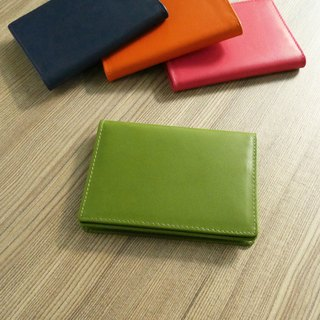 Colorful series - leather business card holder / wasabi green
