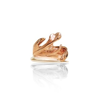 Starting from the heart _ forest antlers ring _ rose gold _925 sterling silver handmade ring