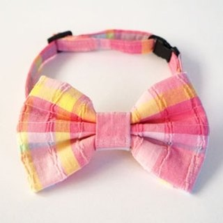 [Miya ko.] Handmade cloth grocery cats and dogs tie / tweeted / bow / cute plaid / colorful color / pet collars