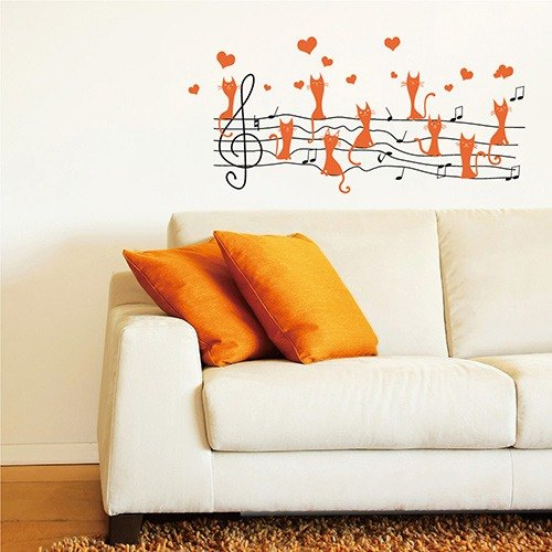 Smart Design Seamless wall stickers creative ◆ cat staves
