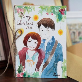 Exclusive Watercolor Christmas Card / Custom Drawing Card / Couple Christmas / Birthday Card / Friends Drawing