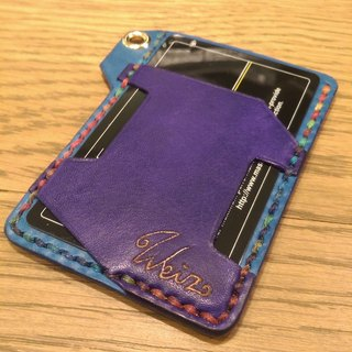 Simple handmade card holder (customizable), free lettering, embroidered words