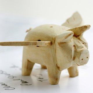 Small handmade wooden doll Wooden Flying Pig Flying Pig decorations