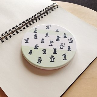 White Thick Porcelain illustrated print Drink Coaster - Little People