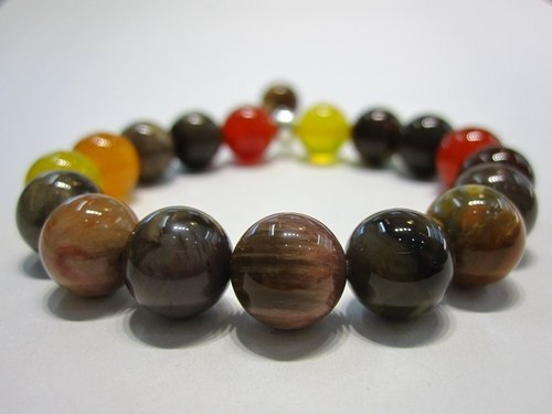 Naturally - All natural wood fossils + orange chalcedony + chalcedony + chalcedony 925 sterling silver bracelet natural crystal +925 sterling silver @ Hong Kong design
