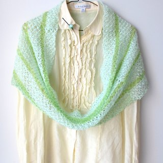 Light cool light green stripes - Hand-crocheted circle scarves / shawls (including hairpins)