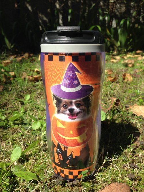 Customized pet holding an insulated cup