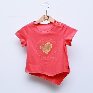 [My little star] love organic thin cotton T-shirt (watermelon red)
