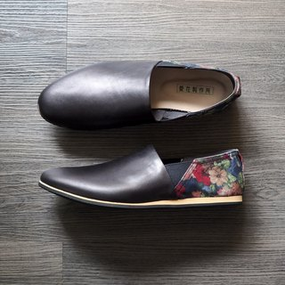 Love flower shoes - black leather classic cloth for men