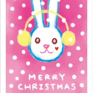 Rabbit series. Illustration postcard - Snowflake Christmas