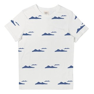 Explications original brand men's cotton round neck short sleeve T-shirt of the white mountains (blue)