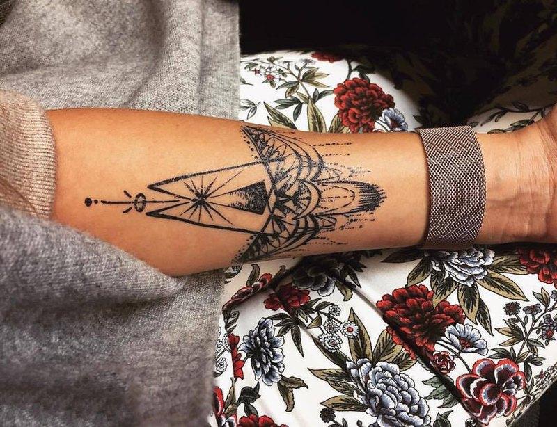 唯美精靈浪漫嘉羅紋身貼紙手臂剌青師手繪深藍彩色約會夏天小飾物