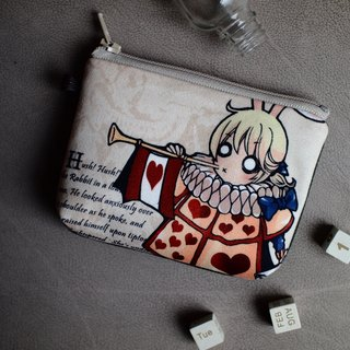 ZoeL * Mezzanine purse * * Homemade Alice Alice White Rabbit horn illustration