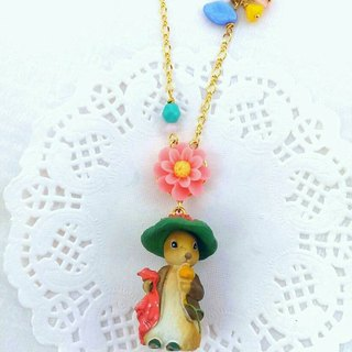 Forest animal friends a long chain - rabbit in the hat lady (powder flower child) (anti-allergy necklace)