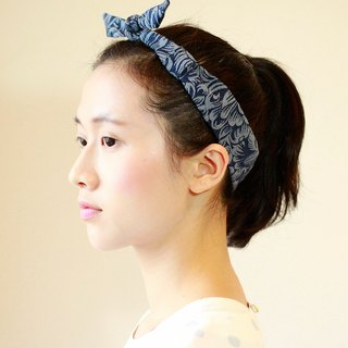 [] The MAMA's Closet denim fabric elastic hair band - Peony