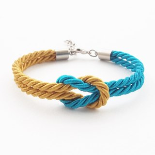 Pumpkin and Peacock blue rope knot bracelet