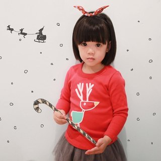 Childlike Children's Handmade Fashion T-Shirt - Happy Elk (Christmas Red)