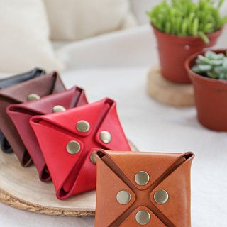 Shekinah Handmade Leather - Textured Four Buckle Coin Purse