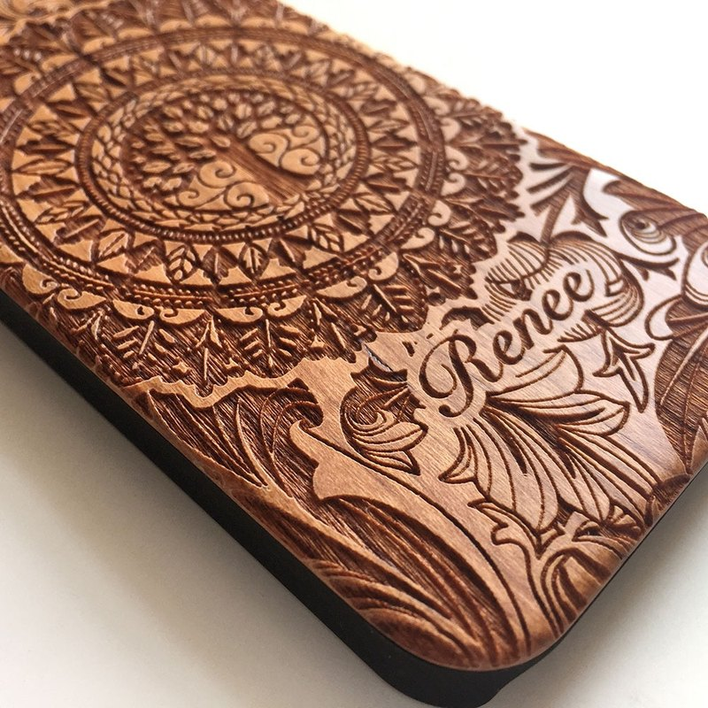 Real wood engraved iPhone SE / 6 / 6 Plus case Floral Tree