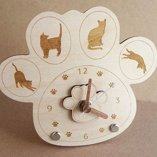 Paws watch cat with silhouette (wooden)