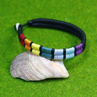 TvT / rainbow colored braided rope bracelet connected