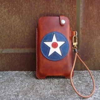 [ISSIS] military style series (6) - US flight hand-made leather phone Case