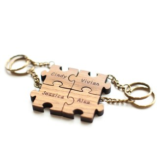 Customized Log Puzzle Key Rings - 4 Pieces