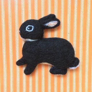 Black rabbit - hand made wool felt pins