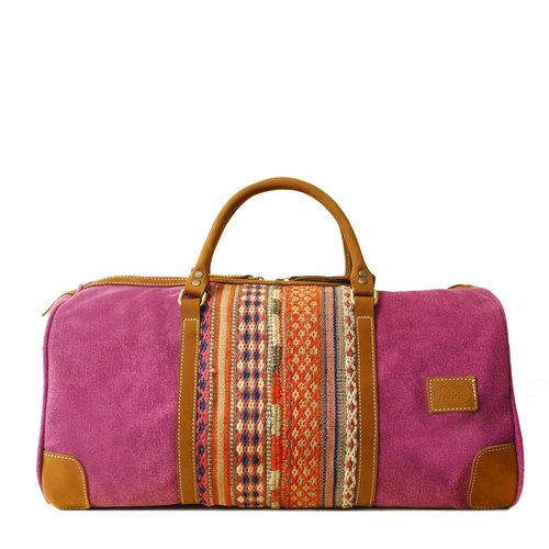 [Happa] simple fashion bag - suede short put - hand-knotted kilim paragraph (Raspberry Raspberry powder)