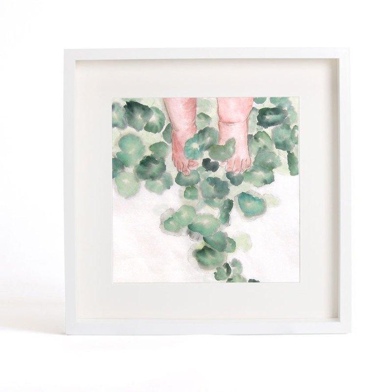 可客製化水墨原創畫作-草地上的小清新(含框)-家居裝飾畫帶相框