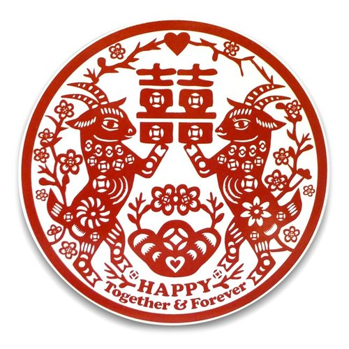 「囍羊羊」陶瓷吸水杯墊 Double Happiness Coaster (goat)