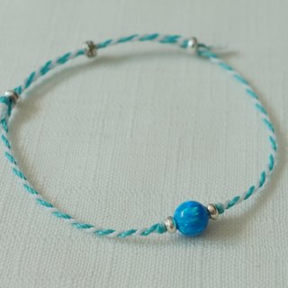 ~米+熊~ Earth! Stone sterling silver silk wax line fine bracelet series from Kyoto, Japan