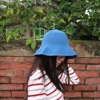 Mama の hand-made hat - handmade cotton rope crocheted hat / wide-brimmed hat - in blue / gifts / Mother's Day