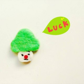 Mew in Wonderland ─ wool felt melancholy fluorescent green head mushroom mushroom mushroom pins