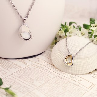 Gold Dot Design Award VOSHAS [pure Pure + fit Soul mate] white mother of pearl + 316L steel necklace chain models