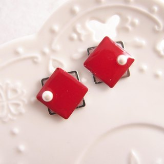 geometry. Red - non-painful U-shaped ear clip stainless steel ear pin silicone ear