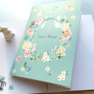 """Zoe's forest"" blue-green garland grid notebook"
