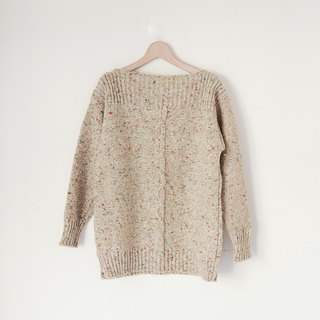 A ROOM MODEL - VINTAGE, CS-1585 JOHN MOLLOY cannabis mixed woven beige thick sweater retro with Shimokitazawa