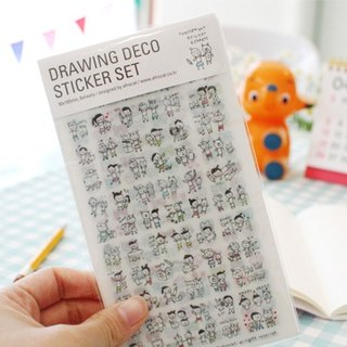 Korea Afrocat drawing deco sticker set hand-painted painting decorative stickers / notebook / diary / billing / Card