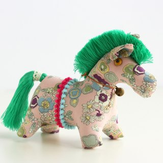Hand-sewn doll puppet Pony (Pink background fabric fresh green mane) Fabric Horse