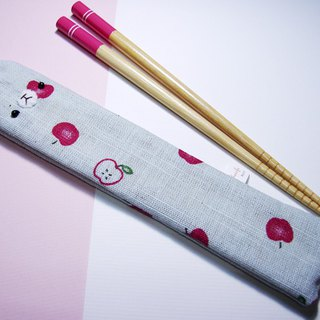 "Cheerful. ""Portable chopsticks set / green chopsticks / chopsticks / tableware"" small apple"