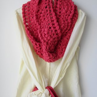 Lace winter cherry - pure wool hand-crocheted scarves circle + Tote