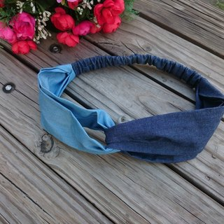 Color cotton denim hair band cross section