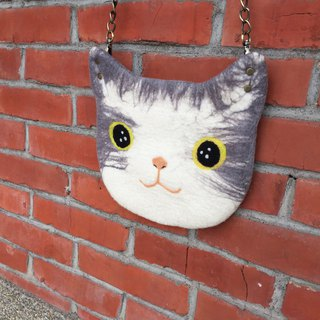 Sheep Ledo wool felt paradise cat slave cat oblique backpack limited hand made gray cat